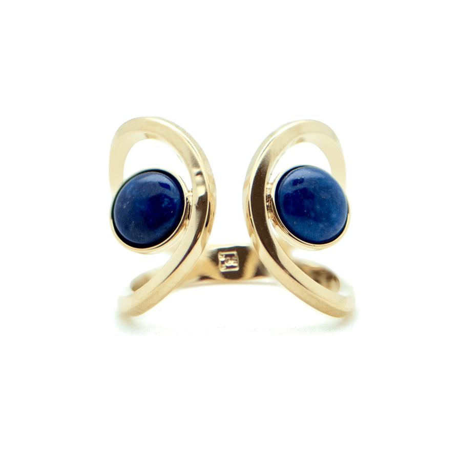 Bague plaque or lapis lazuli ajustable aglaiaco