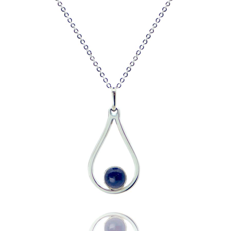 Collier argent pierre lapis lazuli bijoux ethique aglaiaco