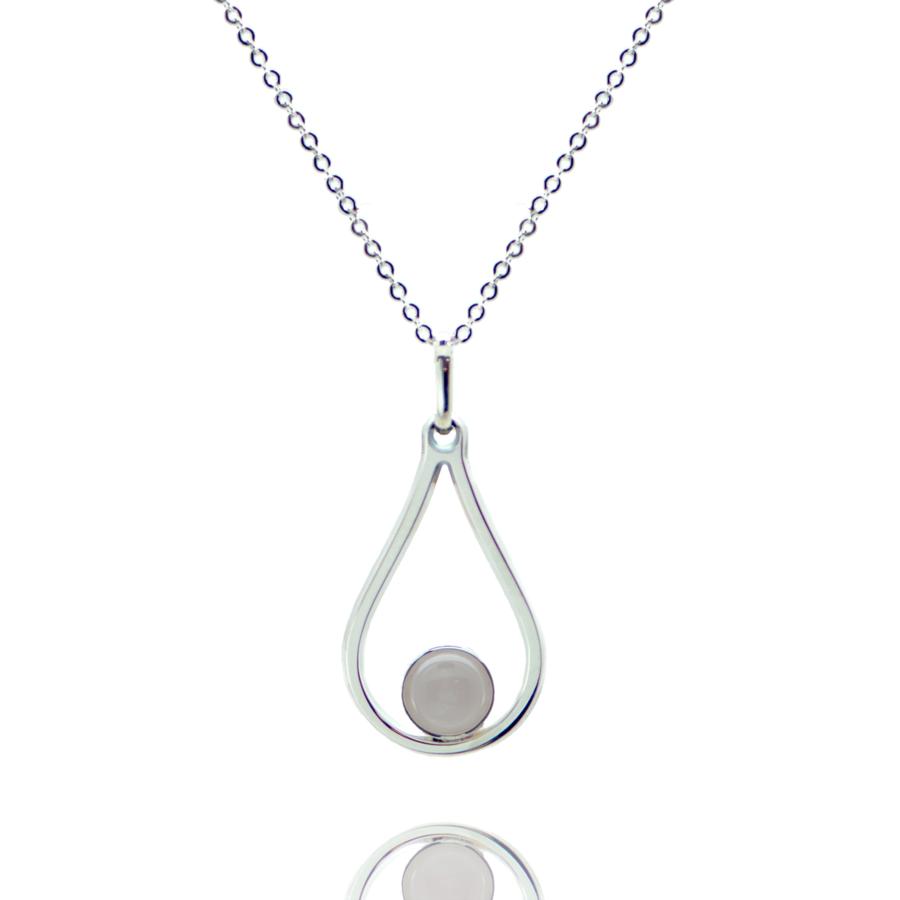 Collier argent pierre quartz rose bijoux ethique aglaiaco