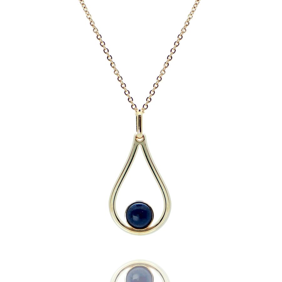 Collier plaque or pierre lapis lazuli aglaiaco