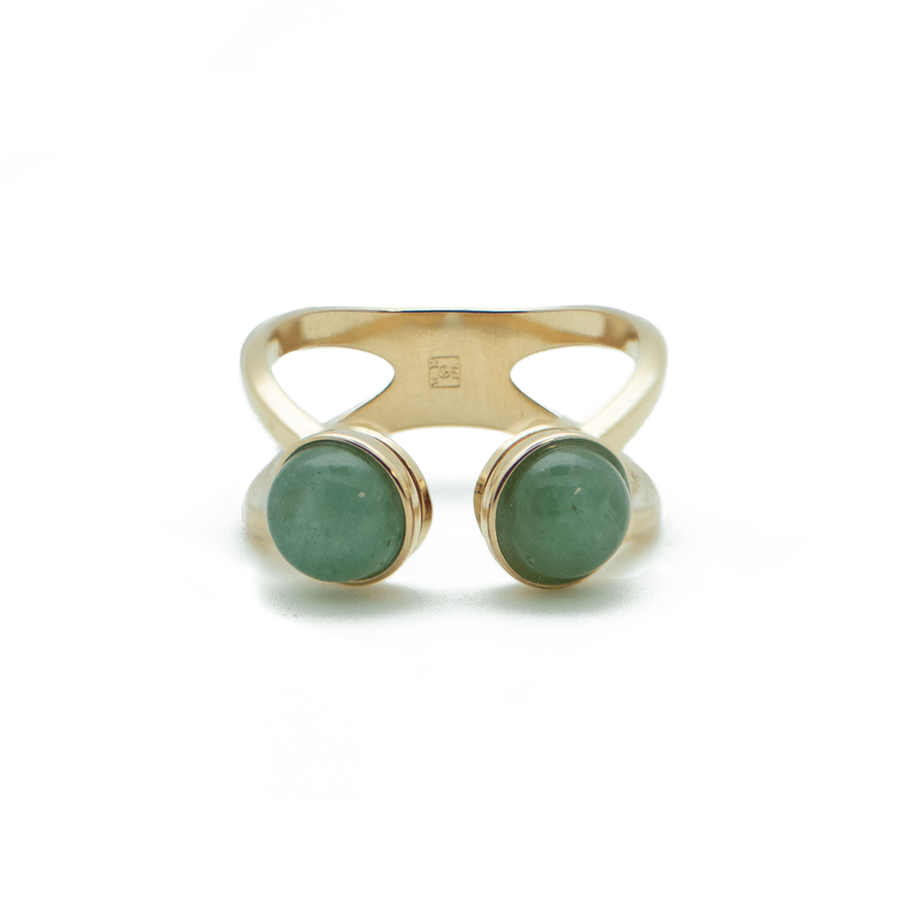Bague plaque or dore aventurine verte ajustable aglaiaco