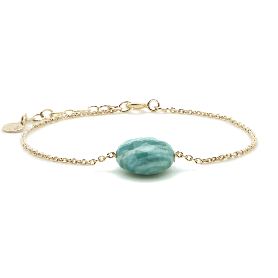 Bracelet plaque or chaine amazonite verte aglaiaco