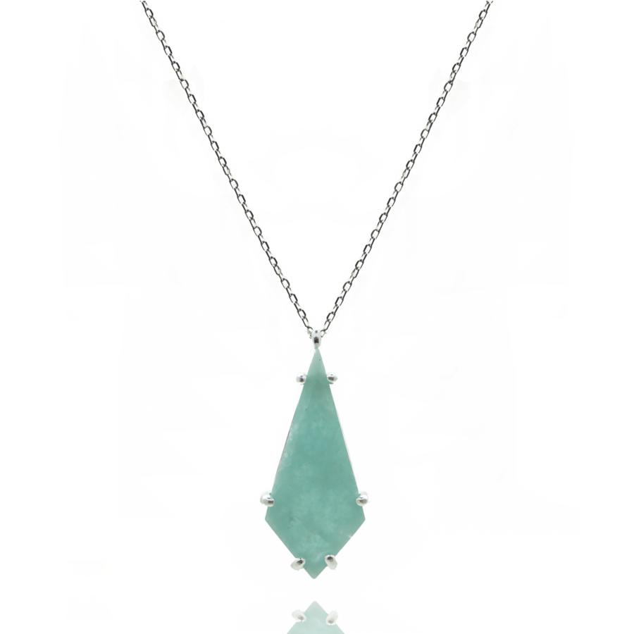 Sautoir argent amazonite pierre verte marquise bijoux aglaiaco