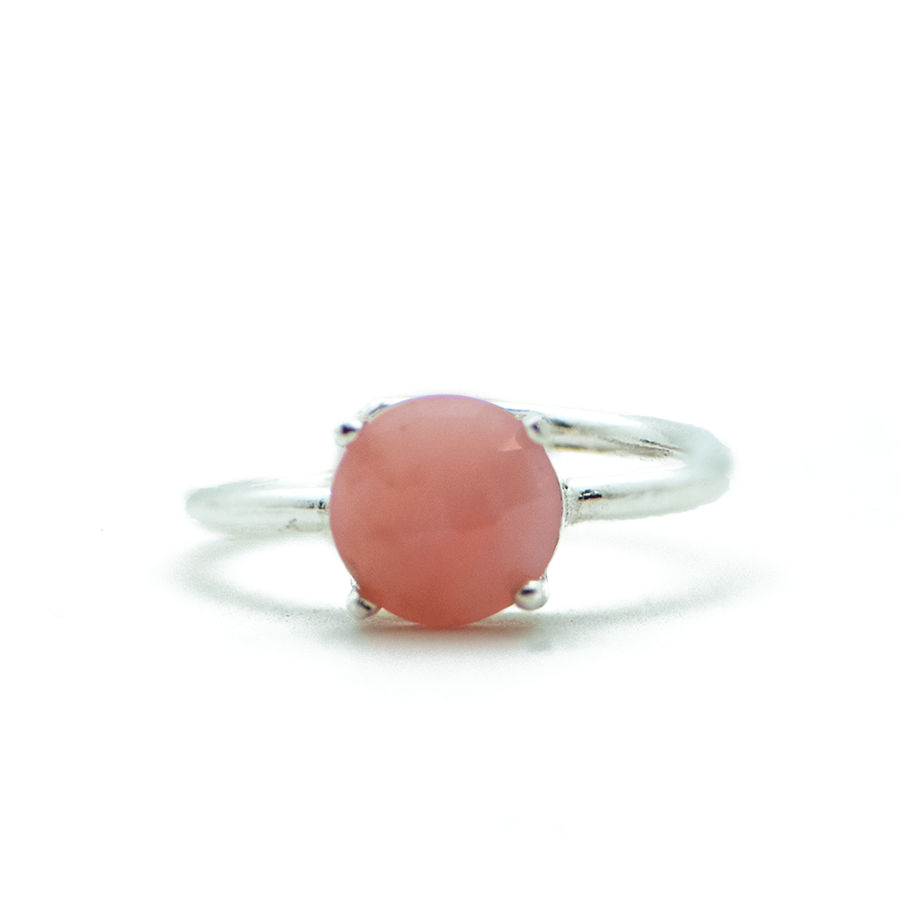 Bague argent pierre sertie opale rose aglaiaco