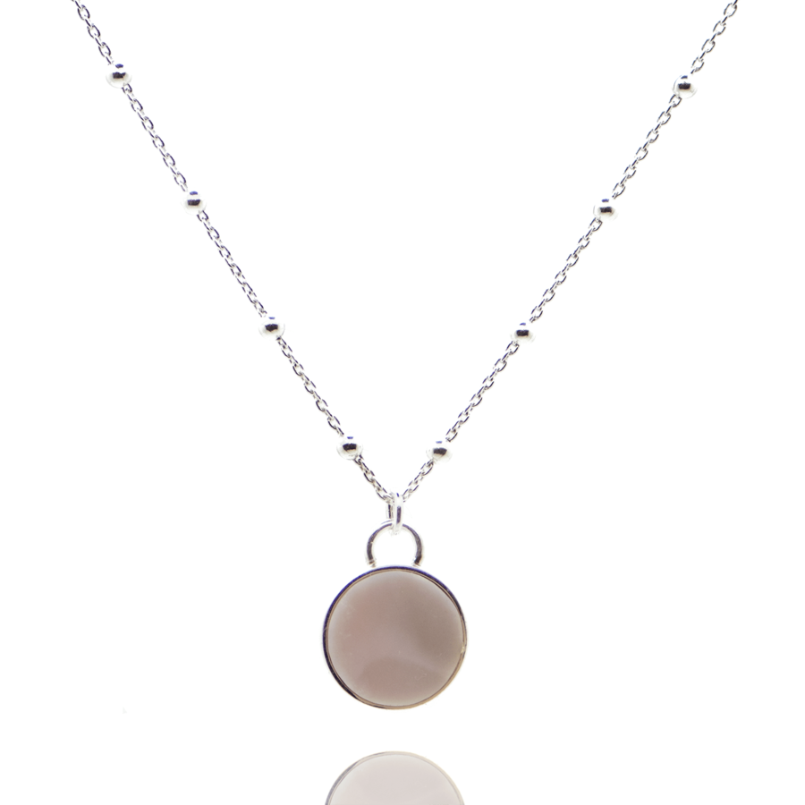 Collier argent chaine boule opale rose pierre aglaiaco