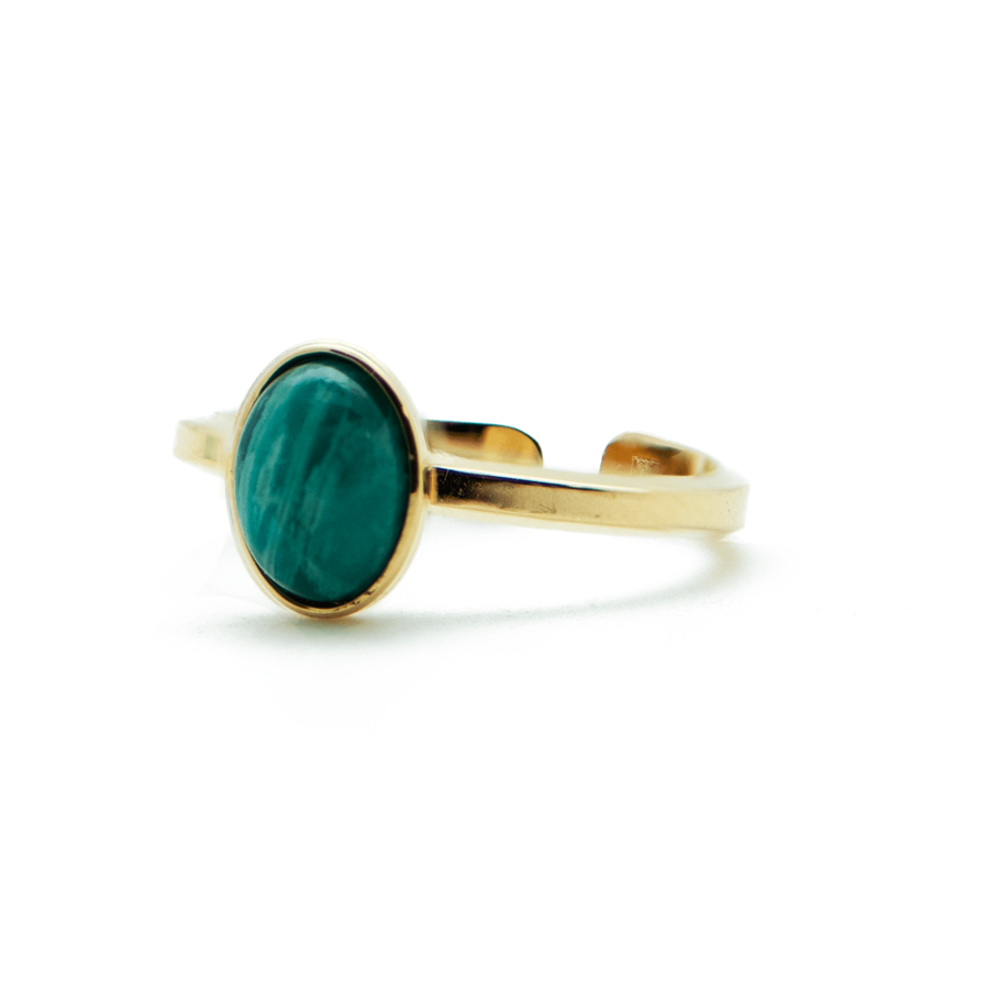 Bague plaqu%c3%a9 or martel%c3%a9 fine amazonite pierre ajustable aglaiaco