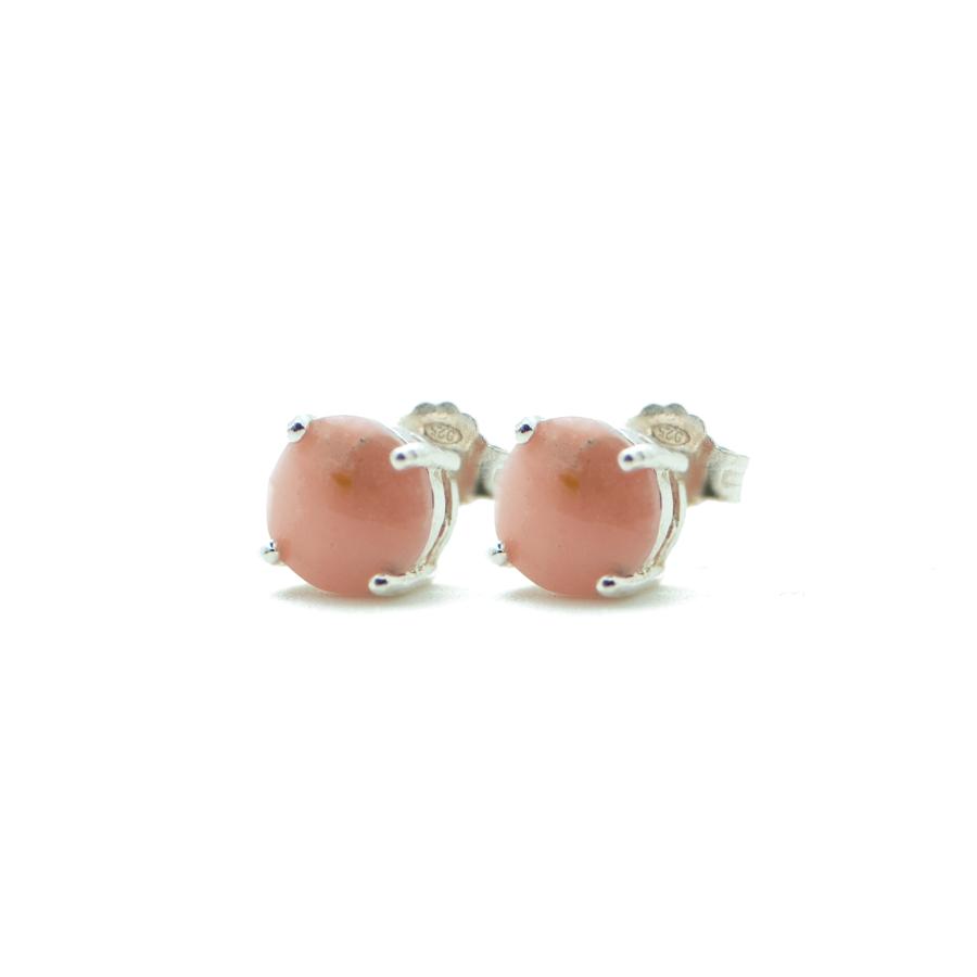 Boucles oreilles argent pierre sertie opale rose aglaiaco