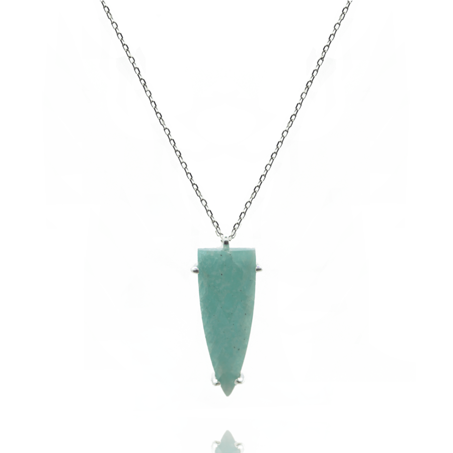 Sautoir argent amazonite pierre verte corne bijoux aglaiaco