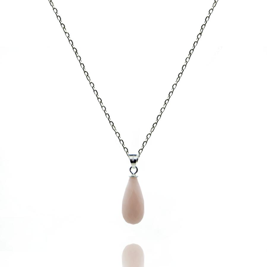 Collier argent fin pierre rose opale briolette aglaiaco