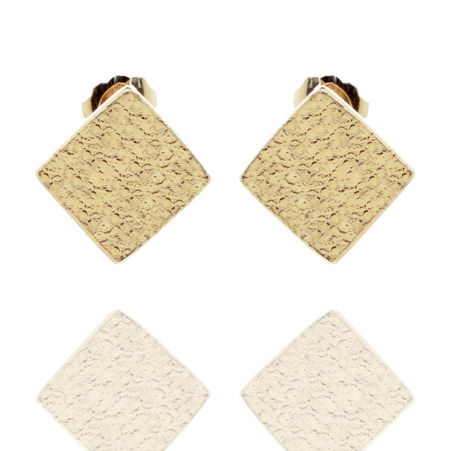 Boucles oreilles plaque or triangle martel%c3%a9 aglaiaco