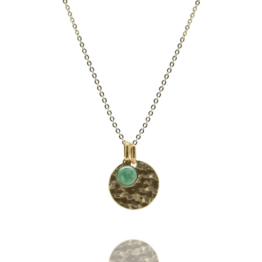 Collier plaque or medaille martel%c3%a9e pierre aventurine chaine forcat atelier aglaiaco