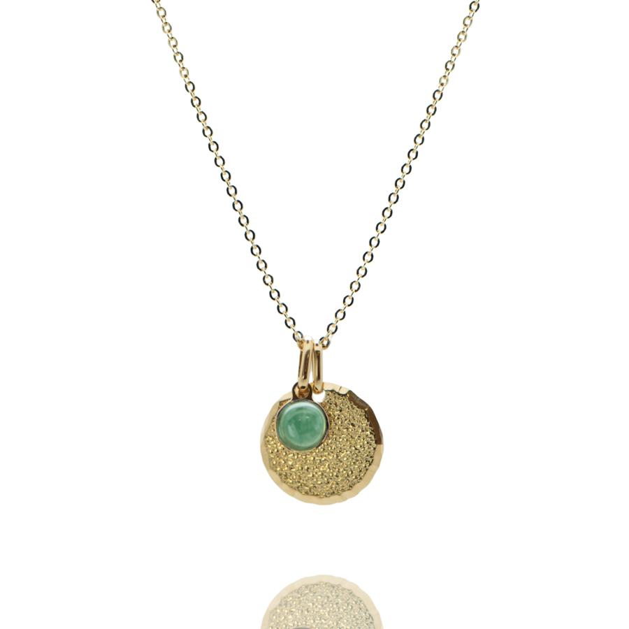 Collier plaque or medaille diamant%c3%a9 pierre aventurine chaine forcat atelier aglaiaco