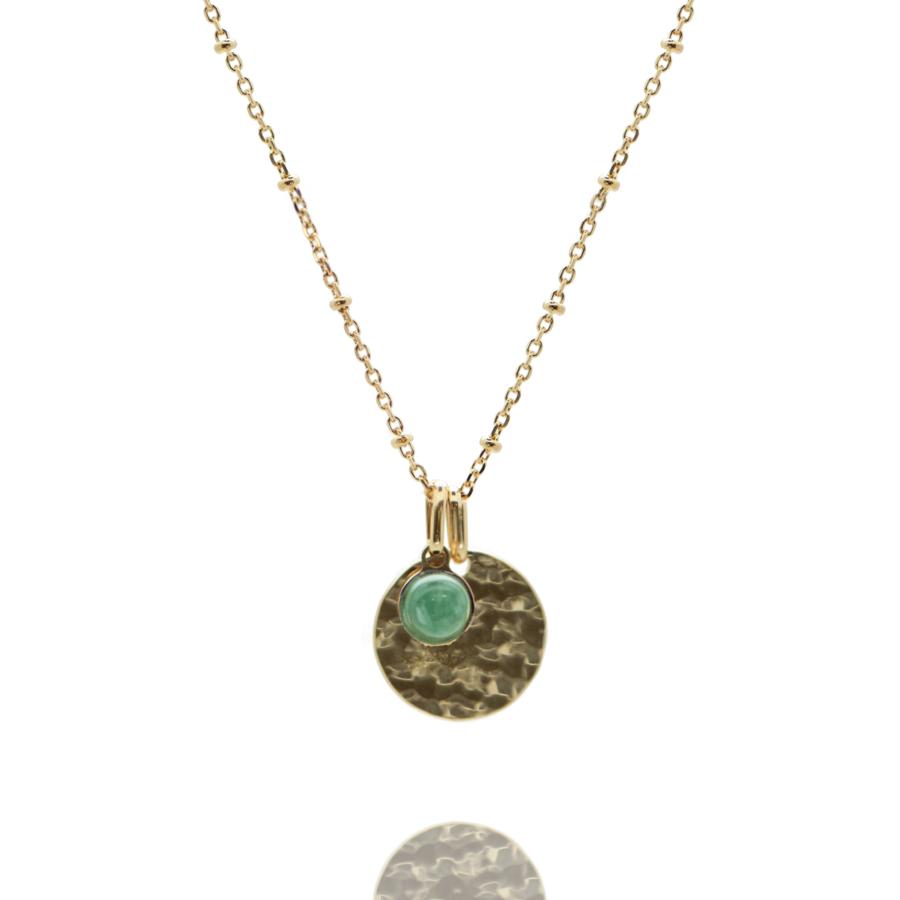 Collier plaque or medaille martel%c3%a9e pierre aventurine chaine boule atelier aglaiaco