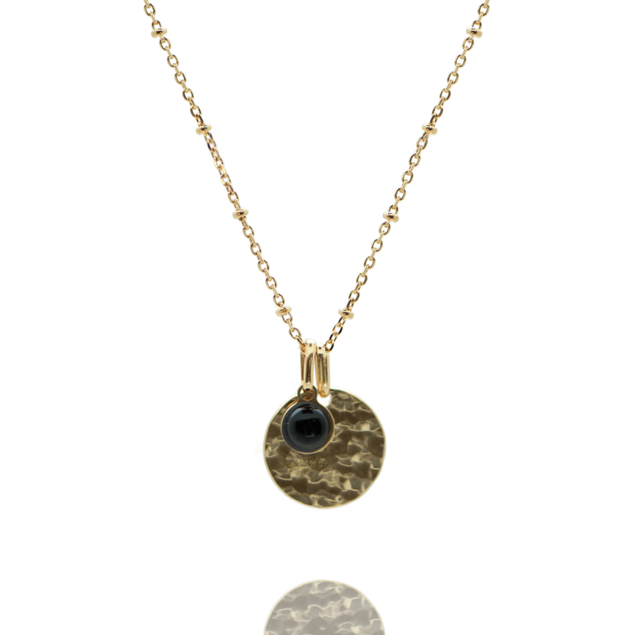 Collier plaque or medaille martel%c3%a9e pierre onyx chaine boule atelier aglaiaco