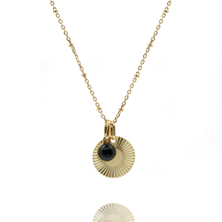 Collier plaque or medaille stri%c3%a9e pierre onyx chaine boule atelier aglaiaco