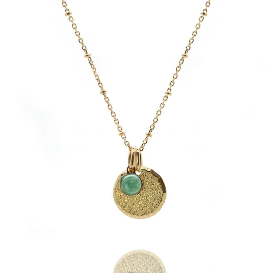 Collier plaque or medaille diamant%c3%a9e pierre aventurine chaine boule atelier aglaiaco