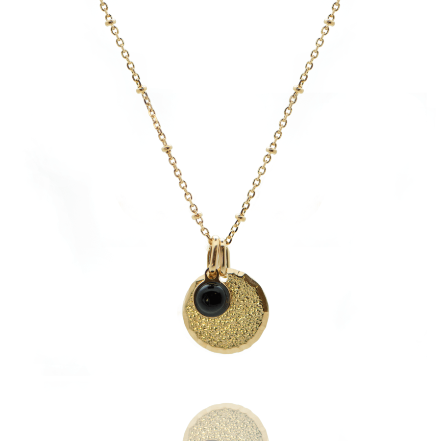 Collier plaque or medaille diamant%c3%a9e pierre onyx chaine boule atelier aglaiaco