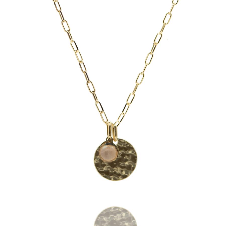 Collier plaque or medaille martel%c3%a9e pierre quartz rose chaine rectangulaire atelier aglaiaco