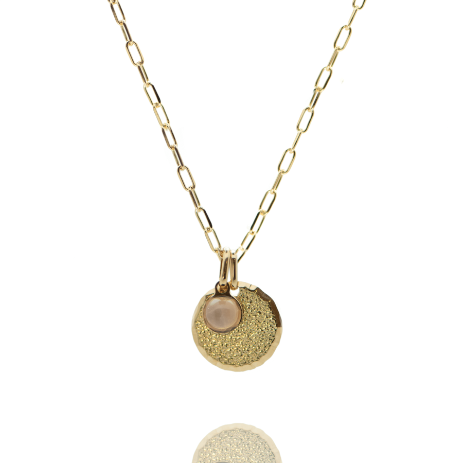 Collier plaque or medaille diamant%c3%a9 pierre quartz rose chaine rectangulaire atelier aglaiaco