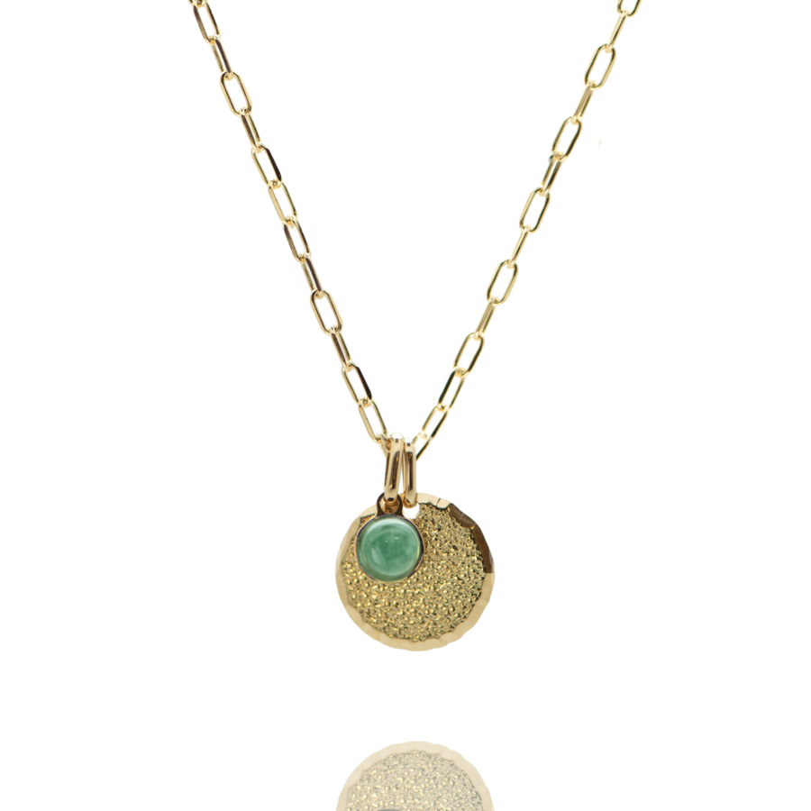 Collier plaque or medaille diamant%c3%a9 pierre aventurine chaine rectangulaire atelier aglaiaco