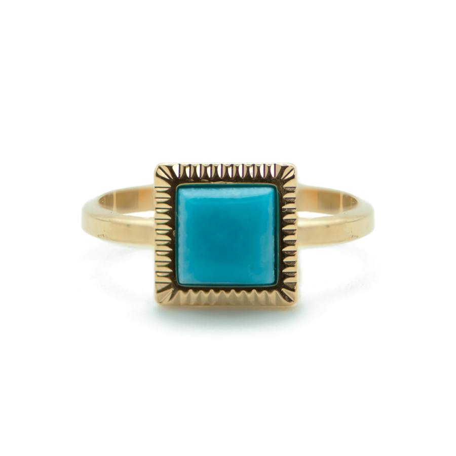 Bague plaque or dor%c3%a9 turquoise rectangle made in france aglaiaco