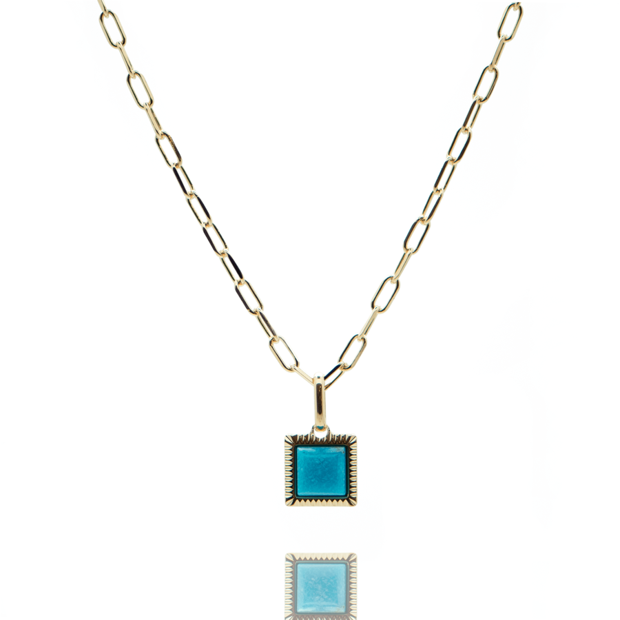 Collier plaque or dor%c3%a9 turquoise rectangle made in france aglaiaco