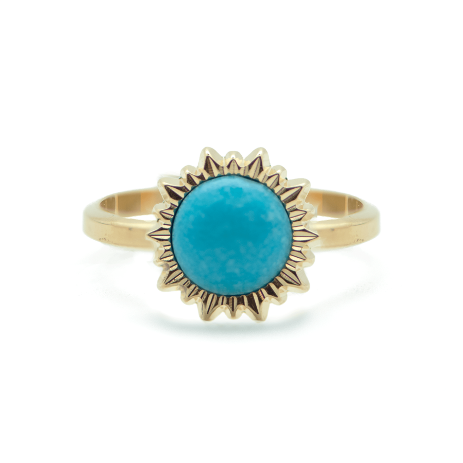 Bague plaque or dor%c3%a9 turquoise soleil made in france aglaiaco